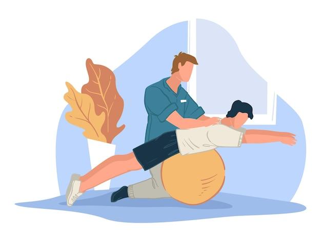 Riabilitazione e trattamento del corpo facendo esercizi speciali per rafforzare il corpo. benessere e assistenza sanitaria. allenatore che aiuta il personaggio ad allungarsi su una grande palla fitness in palestra. vettore in stile piatto