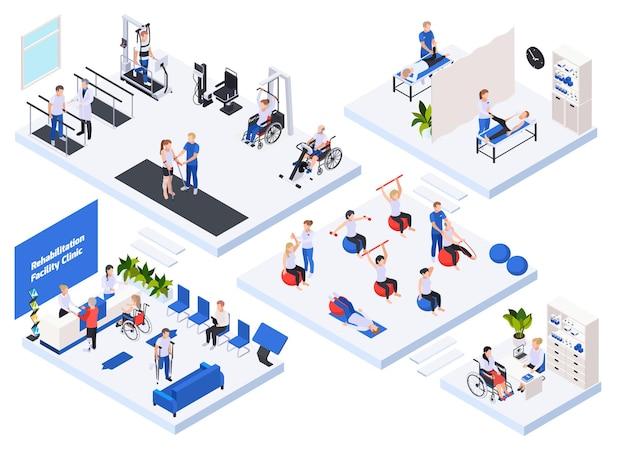 Insieme isometrico dell'illustrazione della clinica di riabilitazione
