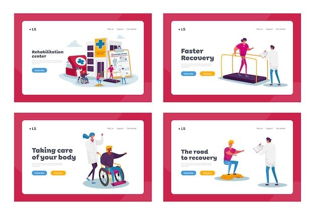 Insieme di modelli di pagina di destinazione di riabilitazione. piccoli personaggi di huge medic things. medico spingere la sedia a rotelle con donna ferita nella clinica di riabilitazione
