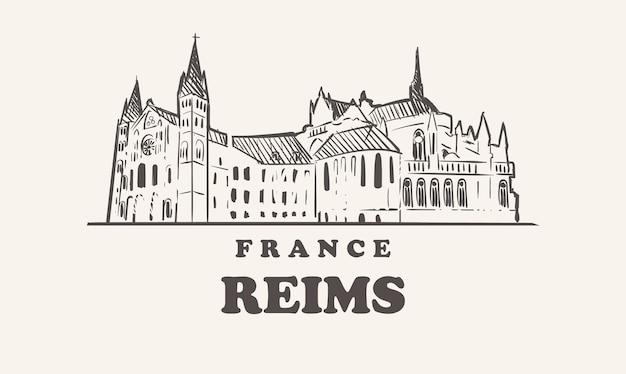 Disegno di illustrazione dell'orizzonte di reims