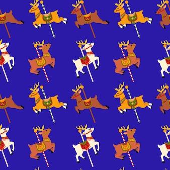 Carosello di renne seamless pattern sfondo