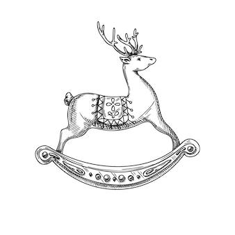 Renna isolata su priorità bassa bianca. disegnato a mano di cervo, schizzo.