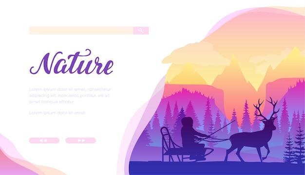 Modello di pagina di destinazione dei servizi di slittino di renne. polo nord, paesaggio invernale minimalista lapponia.