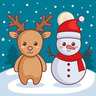 Renna con icona di personaggi di natale pupazzo di neve