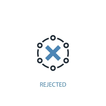 Concetto rifiutato 2 icona colorata. illustrazione semplice dell'elemento blu. design del simbolo del concetto rifiutato. può essere utilizzato per ui/ux mobile e web