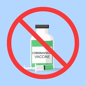 Rifiuto del vaccino contro il coronavirus piatto