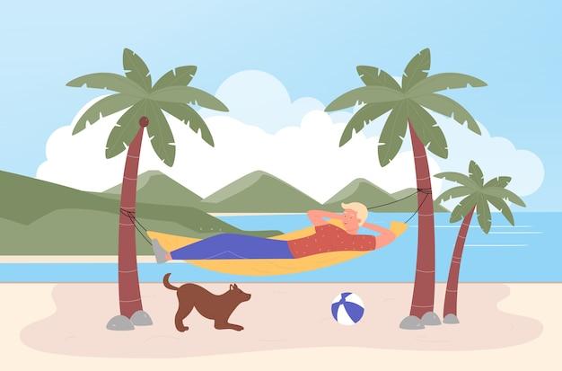 Rilassarsi in amaca, uomo turistico felice del fumetto che si rilassa sull'isola tropicale, che si trova nell'amaca della spiaggia