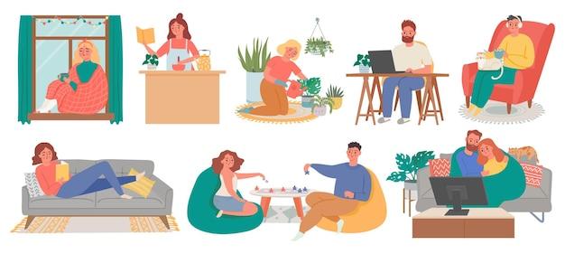 Rilassati a casa. le persone meditano, cucinano, leggono, guardano la tv e fanno hobby in casa. vita di blocco della quarantena, attività o set di vettori per il fine settimana a casa. quarantena di blocco dell'illustrazione, relax in appartamento
