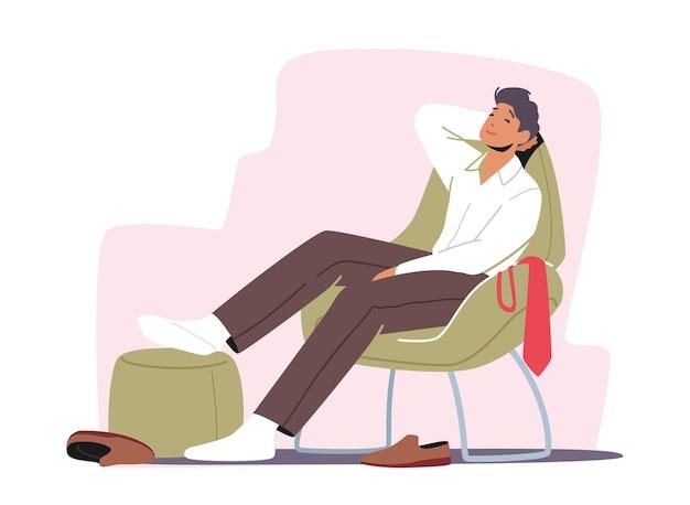 Rilassati il concetto di sparetime. uomo che riposa sulla sedia