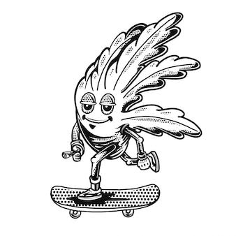 Marijuana a foglia rilassata che raffredda e cavalca uno skateboard