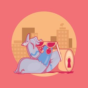 Illustrazione rilassata del piccione. vita cittadina, animale, concetto divertente.