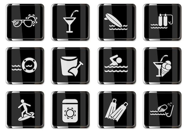 Pittogrammi rilassanti sulla spiaggia in bottoni cromati neri. set di icone per il tuo design. icone vettoriali