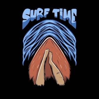 Illustrazione rilassante sulla tavola da surf con scritte sull'ora del surf per il design della maglietta