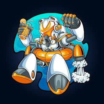 Robot rilassante nello spazio