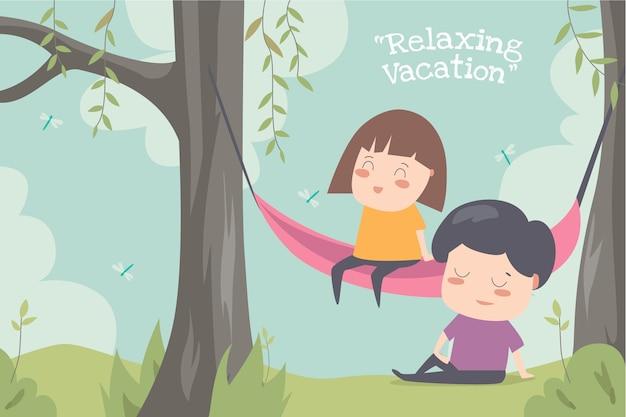 Ilustration piatto vacanza rilassante desin bambino carino