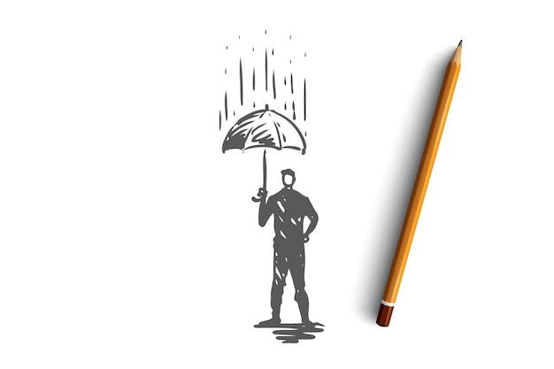 Affidabilità, sicurezza, protezione, sicurezza, concetto sicuro. persona disegnata a mano con l'ombrello sotto l'abbozzo di concetto di pioggia.