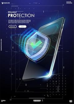 Banner di protezione affidabile, scudo in stile futuristico.
