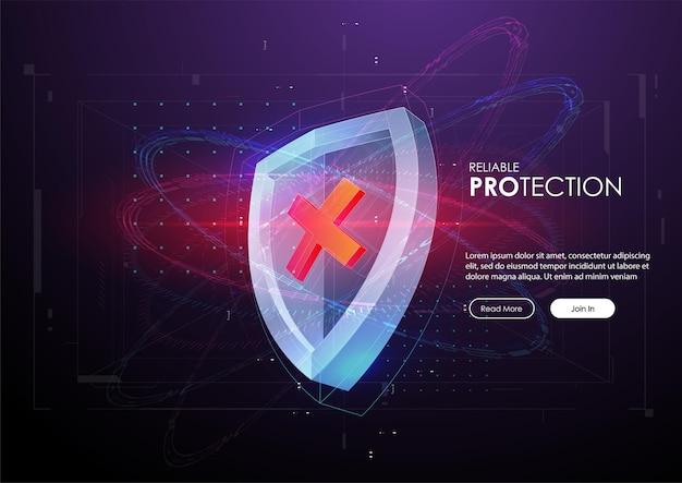 Banner di protezione affidabile con scudo in stile futuristico.