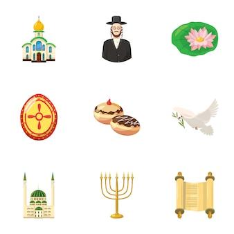Set di icone di religione, stile cartoon