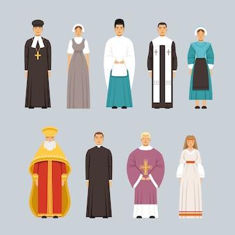 Set di caratteri di persone di religione, uomini e donne di diverse confessioni religiose in abiti tradizionali illustrazioni