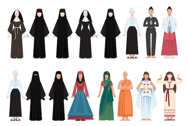 Persone di religione che indossano uniformi particolari. collezione di figure religiose femminili. monaco buddista, sacerdoti cristiani, giudaista rabbino, mullah musulmano.