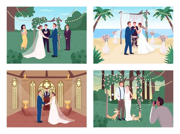 Insieme dell'illustrazione di colore piatto di cerimonia nuziale religiosa e civile