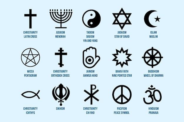 Set di segni religiosi raccolta di simboli di varie icone di religione
