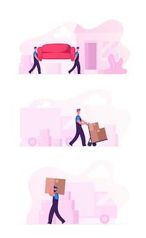 Insieme dell'illustrazione del trasferimento e del trasloco nella nuova casa