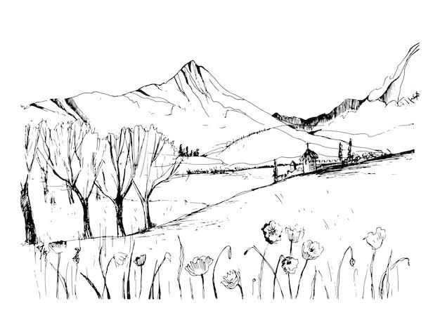 Notevole schizzo del paesaggio georgiano. illustrazione disegnata a mano in bianco e nero di vettore del profilo.