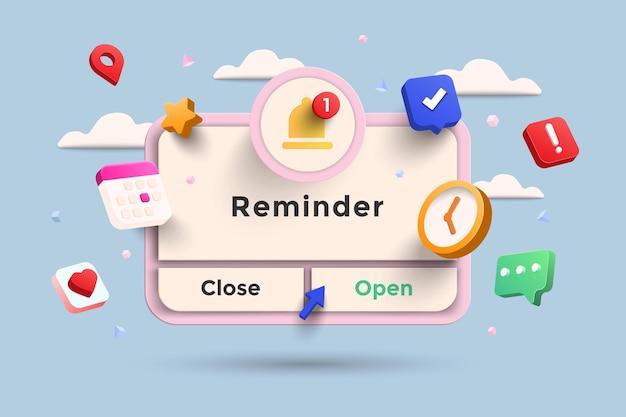 Promemoria illustrazione 3d, pagina delle notifiche con elementi mobili. pianificazione aziendale, eventi, promemoria e orari con rendering 3d. illustrazione di vettore.