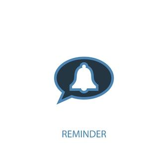 Promemoria concetto 2 icona colorata. illustrazione semplice dell'elemento blu. disegno di simbolo del concetto di promemoria. può essere utilizzato per ui/ux mobile e web