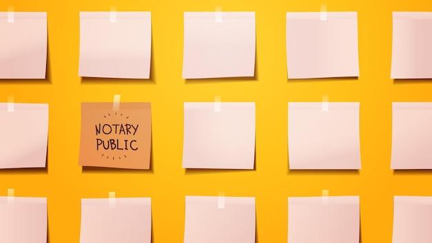 Scheda di pianificazione promemoria notaio scritto su carta per appunti adesiva firma e documenti di legalizzazione concetto orizzontale