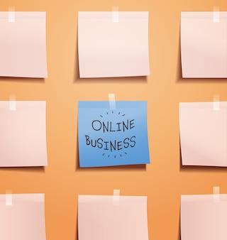 Promemoria scheda programma business online scritto su carta per appunti