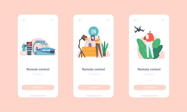 Modello di schermo integrato della pagina dell'app mobile di controllo remoto. il personaggio del dottore conduce l'operazione del paziente con il braccio robotico