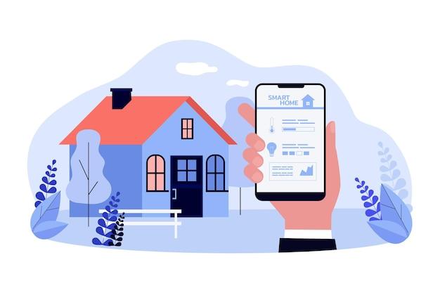 Telecomando di illustrazione vettoriale piatto casa intelligente. smartphone in mano con app per il controllo delle funzioni smart home sullo schermo. tecnologia, internet, casa, concetto iot per la progettazione di banner