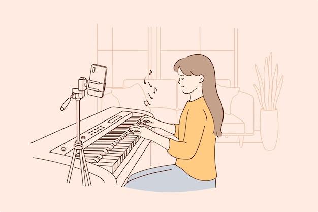 Concetto di lezione di musica a distanza remota Vettore Premium