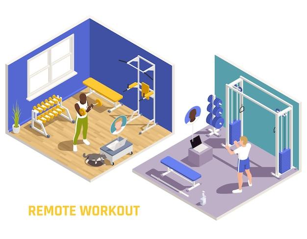 Composizione isometrica di allenamento di allenamento virtuale di allenamento fitness a distanza con gli uomini che si modellano nell'illustrazione della palestra di casa
