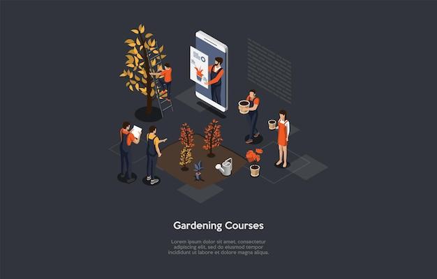 Corsi di giardinaggio a distanza, professione internet o formazione video hobby, concetto di formazione online di squadra. illustrazione di stile del fumetto di vettore. composizione isometrica 3d con testo, personaggi, infografica.