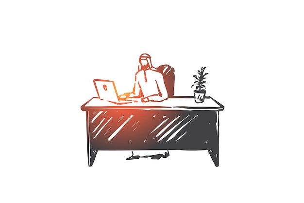 Lavoro remoto, illustrazione di schizzo di concetto di freelance