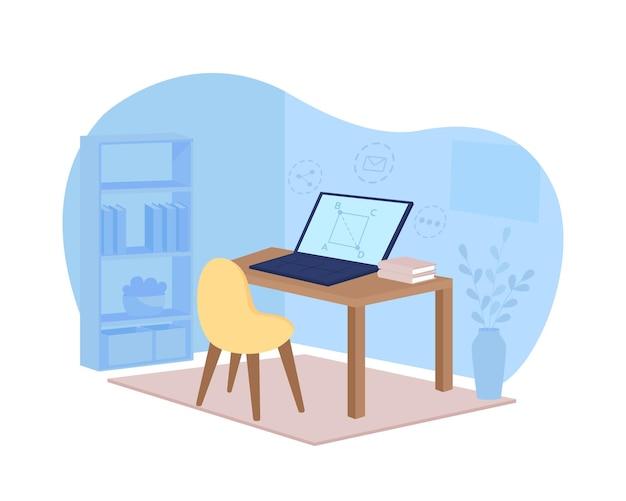 Banner web 2d per l'apprendimento a distanza, poster. webinar di matematica. stazione di lavoro nella scena piana della stanza blu sul fumetto. tutorial online su patch stampabile sullo schermo del laptop, elemento web colorato