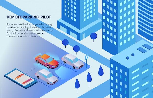 Pilota di parcheggio a distanza controllato dall'illustrazione del telefono cellulare Vettore Premium
