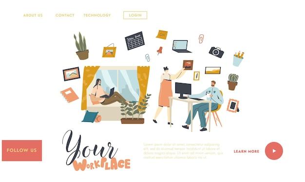 Modello di pagina di destinazione sul posto di lavoro remoto o stazionario