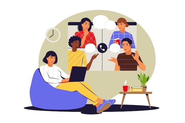 Concetto di squadra a distanza. riunione online di conversazione di squadra. videoconferenza e concetto di comunicazione web. illustrazione vettoriale. appartamento.