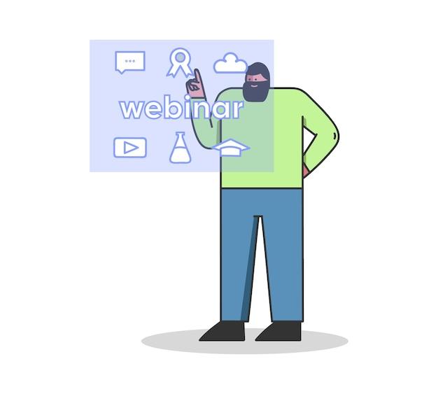 Videoconferenza remota o webinar il personaggio maschile sta scegliendo un corso online