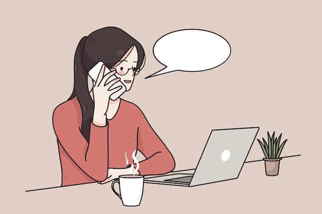 Illustrazione di concetto di lavoro a distanza