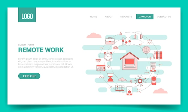 Concetto di lavoro a distanza con l'icona del cerchio per il modello di sito web o l'illustrazione di stile del profilo della homepage dell'insegna della pagina di destinazione