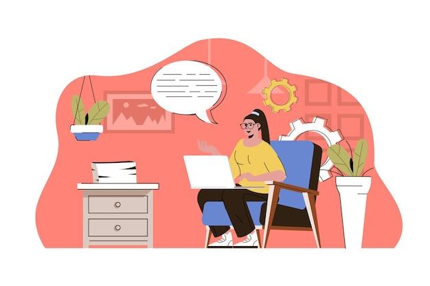 Concetto di lavoro a distanza donna che lavora online con il laptop dall'ufficio di casa