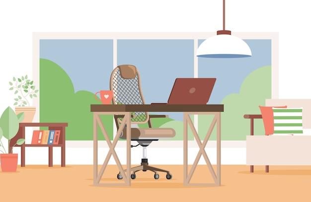 Lavoro a distanza o interior design accogliente dell'ufficio
