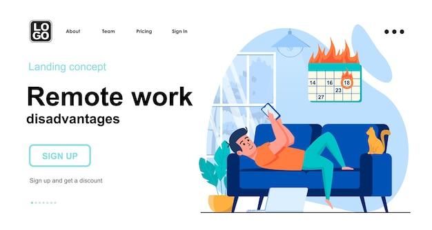 Modello di pagina di destinazione degli svantaggi del lavoro a distanza