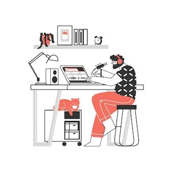 Lavoro a distanza o apprendimento a distanza lavoro a casa carattere freelance che lavora da casa illustrazione piatta sul posto di lavoro conveniente uomo e donna concetto di lavoratore autonomo